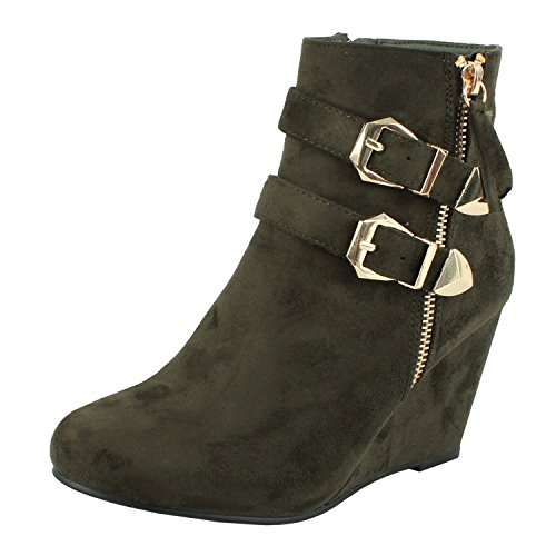 Womens Wedge Ankle Bootie Fashion Double Ankle Straps Zipper Platform High Heel Boots Olive (Green Wedge Platform)