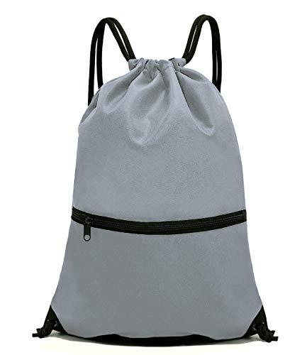 HOLYLUCK Men & Women Sport Gym Sack Drawstring Backpack Bag-Grey