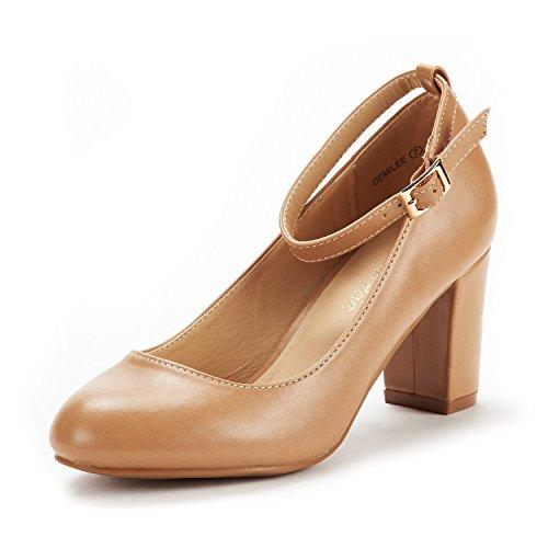 DREAM PAIRS Women's Demilee Nude Pu High Chunky Heel Pump Shoes Size 9 B(M) US