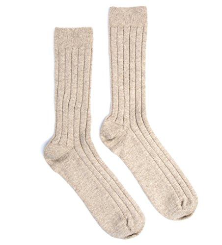 Cashmere Sock House - Scotland Men's Scottish Socks US 8-10 Natural