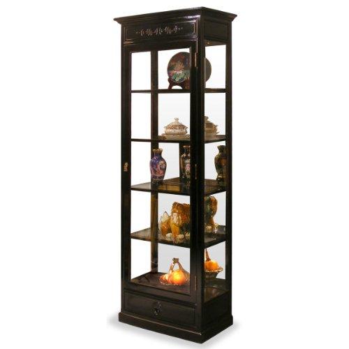 ChinaFurnitureOnline Rosewood China Cabinet, 25 Inches Ming Design Longevity Motif Display Cabinet Black Ebony Finish
