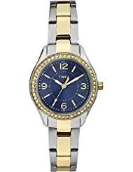 Timex TW2P80000GP Women's Classic Blue Dial and Gold Stainless Steel Band Watch
