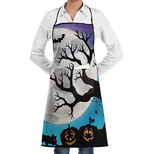 (Junnikay Eco-Friendly Custom Waterproof Antifouling Halloween Party Adjustable Bib Apron,with Pockets for Kitchen Garden Cooking Unisex Professional Chef's)