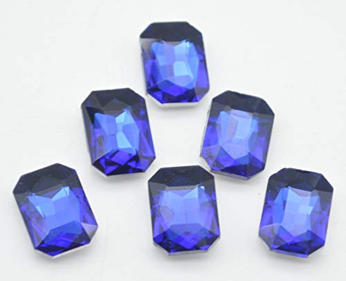 Catotrem Glass Diamante Faceted Octagon Rectangle Rhinestone Pointback Stone for Arts Crafts 10X14mm 50Pcs(Blue)