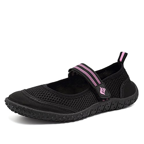 CIOR Fantiny Women Aqua Shoes Quick Drying Water Sports Shoes Beach Pool Boating Swim Surf Exercise,SASB01,Black,38