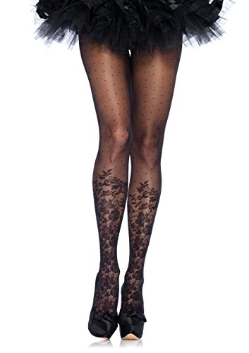 Leg Avenue Women's Dotted Sheer Pantyhose, Black, One Size - Dotted Sheer