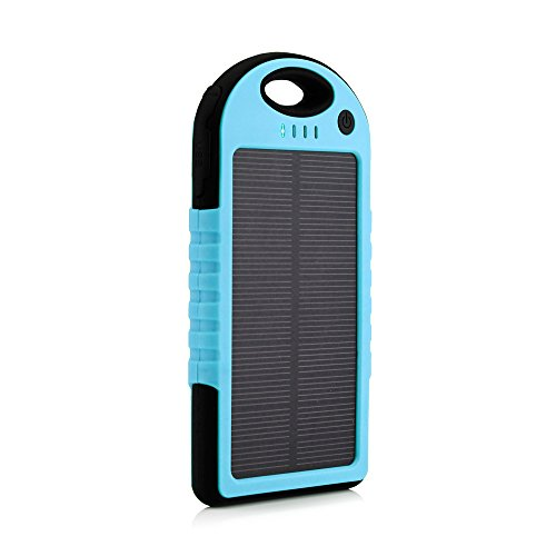 GEARONIC TM 5000mAh Portable Shockproof Waterproof Solar Charger Battery Panal Double USB Power Bank for Cell Phone MP3 - Blue