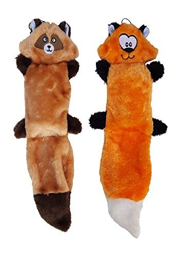 ZippyPaws Bundle of 2 Plush Dog Toys, With Squeakers, No Stu