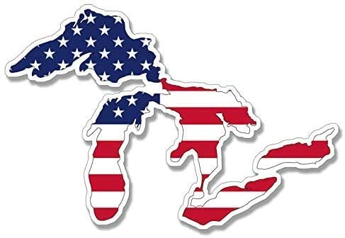 USA American Flag in Great Lakes Shape Sticker rv Travel mich Michigan mi wi