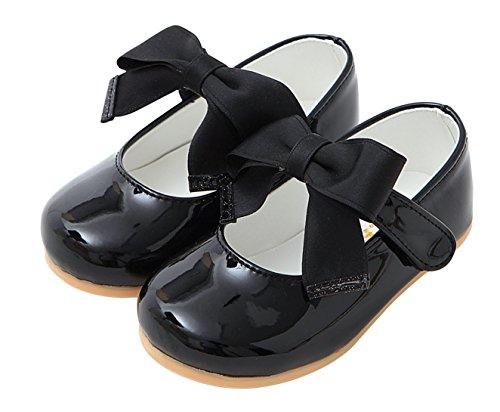 Antiskid Dress Shoes Ribbon Ozkiz Toddler black Flat Little W196 Tie Infant Bow Girls w1UqOxS