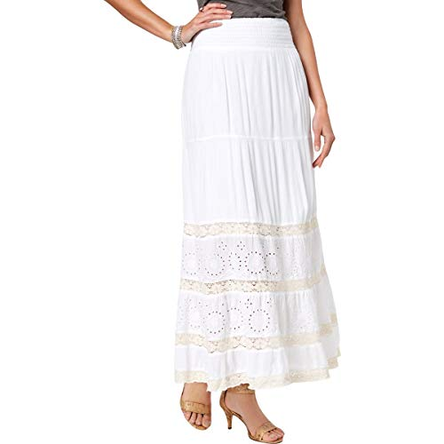 Style & Co. Crochet Eyelet Maxi Skirt (Bright White, XL)