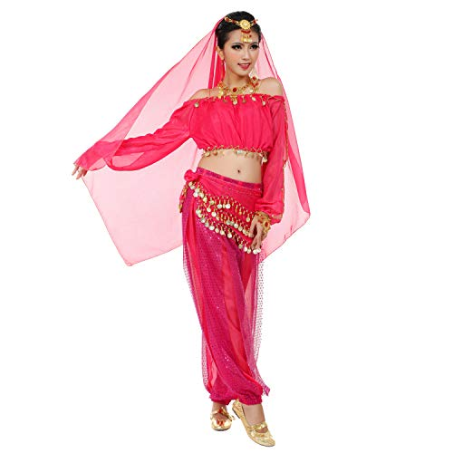 Maylong Womens Harem Pants Belly Dance Outfit Halloween Costume DW29 (hot Pink) ()
