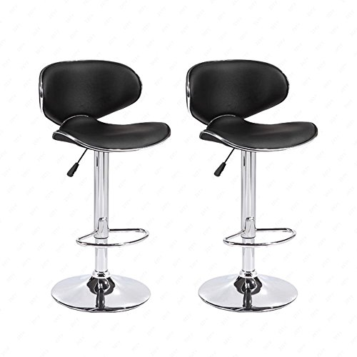 Mecor Adjustable Swivel Leather Bar Stools Hydraulic Counter Height Kitchen Dining Chairs with Chrome Base,Set of 2, Black (Chair Stool Adjustable Bar)