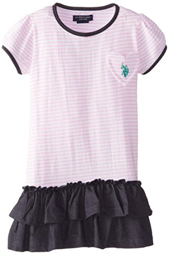 Girls Puff Top Sleeve - U.S. POLO ASSN. Little Girls' Puff Sleeve Top Denim Bottom Dress, Pinkness, 4