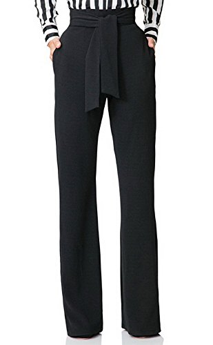 Yootiko Womens Casual Stretchy High Waist Wide Leg Long Pants with Belt