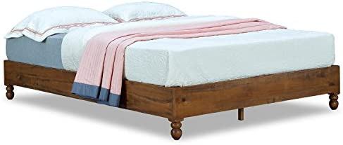 MUSEHOMEINC 12 Inch Solid Wood Bed Frame Rustic Style Eliminates The Need