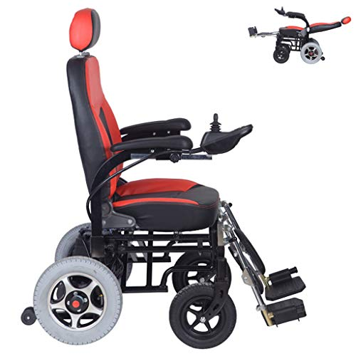 DONGBALA Electric Wheelchair, Folding Wheelchair Reclining Tilting Chair Automatic Scooter Multifunctional Power Wheelchair for Elderly Adult Disabled 12A Lithium Battery Red