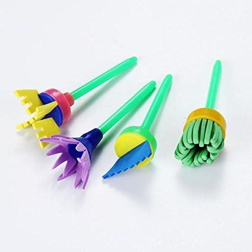 Myoffice スタンプ スポンジブラシ 描く画材 ツール 子供 DIY玩具 贈り物 かわいい花 ブルー 4本セット