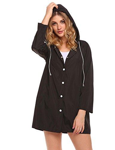 (SoTeer Womens Lightweight Raincoat Hooded Waterproof Active Outdoor Rain Jacket Black)