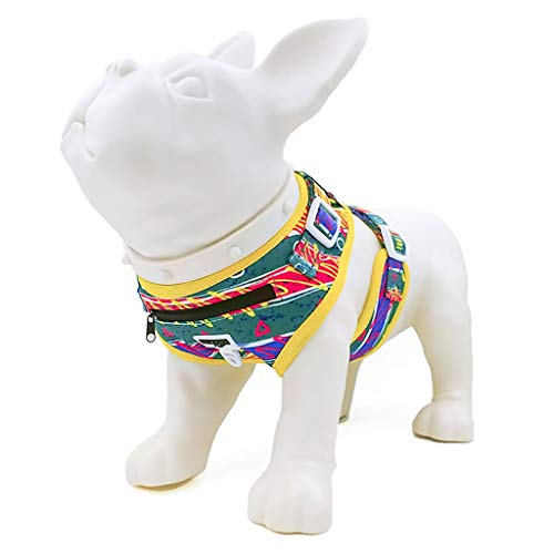 - Retro Pet No Pull Step in Mesh Dog Harness - Fiesta - Embroidered Padded Adjustable Reflective Soft Comfort Vest - Front Zipper Pocket - Ideal for Puppies Walking Hiking Training Pulling - Small