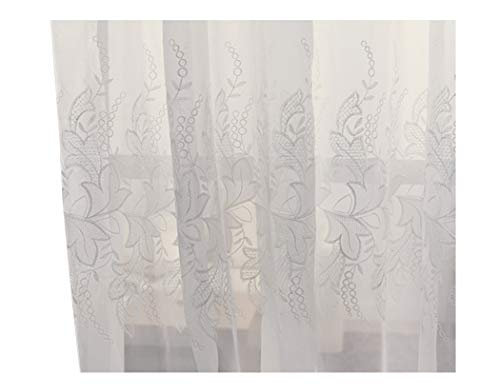 BW0057 High Grade Floral Lace Embroidery Sheer Curtain Rod Pockets Top Window Decoration Voile Panel Drape for Living Room Bedroom Kichen and Kids Room(1 Panel, W 50 x L 102 inch, White)