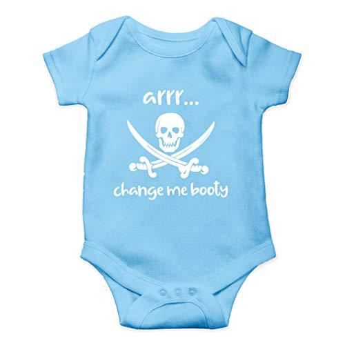 (Arrr Change Me Booty - Hilarious Pirate Joke, Captain Adorable - Cute One-Piece Infant Baby Bodysuit (6 Months, Light Blue))