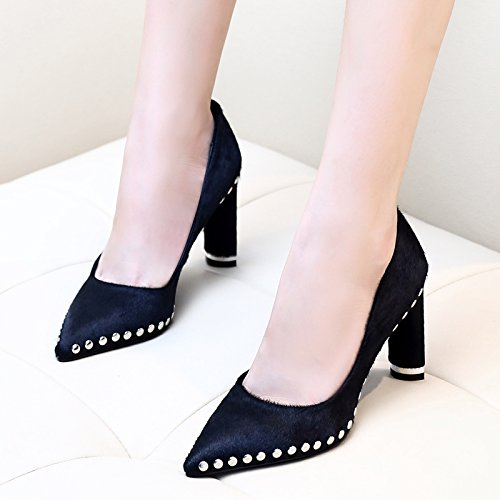 SDKIR-The fall of crude documentary shoes pointed black rivets high-heeled shoes all-match shallow mouth shoe female tide Thirty-six black