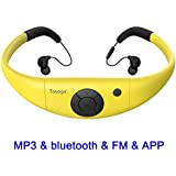 MP3 Headphones 8GB IPX8 Waterproof Ultra-light FM Bluetooth 4.2 HI-FI Underwater 3m Pedometer APP U Disk for Swimming Running Riding Walking SPA and other Water Sport with Shuffle Player-Yellow