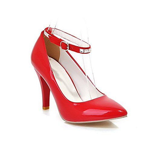 Pointed Shoes Heels PU Pumps High Closed Red Buckle Toe Women's WeiPoot Solid w5qvCHfq