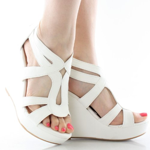 PU Sandals Gladiator Nubuck High Platform Wedge Strappy 3 JJF Lindy 7 Shoes White Dress Comfort OwpffYq