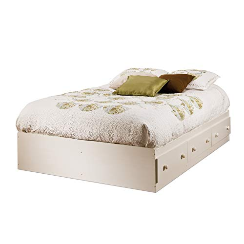 South Shore Summer Breeze Mates Bed with 3 Drawers, Full 54-inch, White Wash
