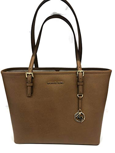 MICHAEL Michael Kors Jet Set Travel Medium Carryall Tote Saffiano Leather - Luggage (Double Rolled Handles)