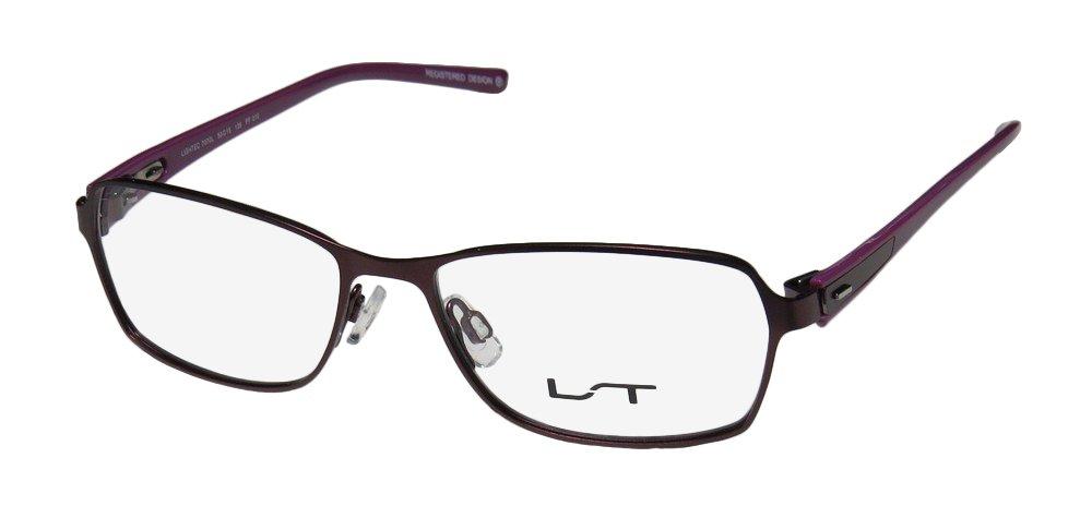Lightec 7070l Mens/Womens Ophthalmic In Style Designer Full-rim Spring Hinges Eyeglasses/Eyewear (50-15-135, Plum / Violet)