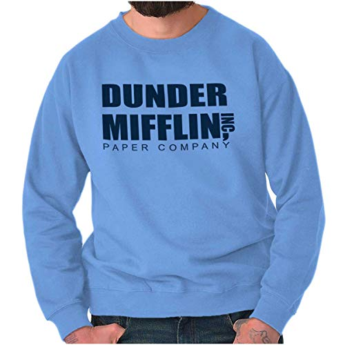 (Brisco Brands Dunder Paper Company Mifflin Office TV Show Crewneck Sweatshirt Carolina Blue)