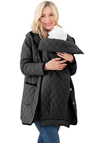 Sweet Mommy Quilting Maternity and Babywearing Coat Water Repellant Black, M