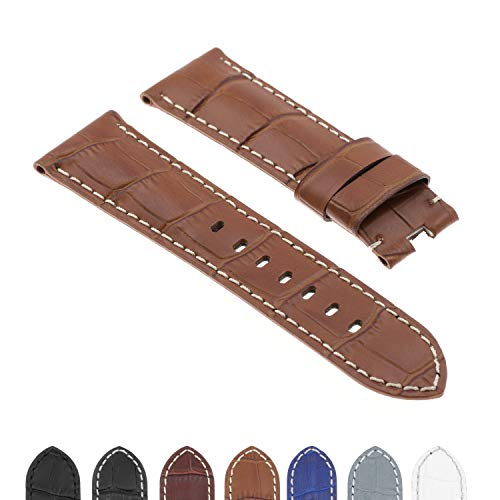 DASSARI Croc Crocodile Embossed Leather Men's Watch Band Strap for Panerai Deployant Deployment Clasp - 22mm 24mm 26mm