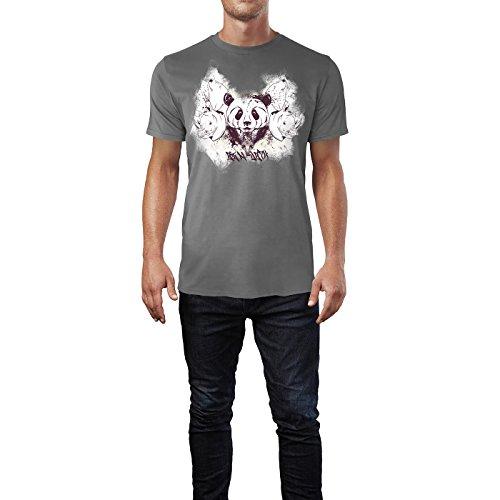 SINUS ART ® Abstrakte Collage mit Pandabär und Nashörnern Herren T-Shirts in Grau Charocoal Fun Shirt mit tollen Aufdruck