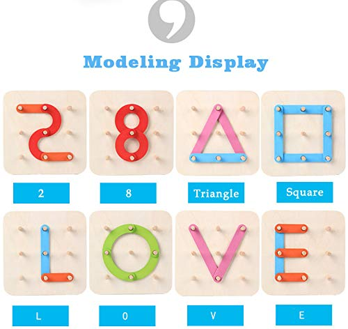 MorTime Wooden Alphabet Puzzle Game Letter-Number-Shape-Color Recognition Toy,Preschool Educational Montessori Stacking Blocks Toy for Toddlers