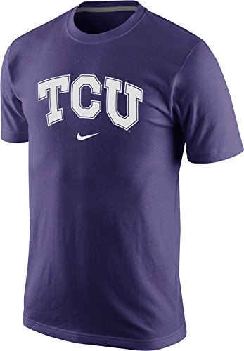 Nike Texas Christian TCU Horned Frogs Classic Arch Wordmark Logo Men's T-Shirt (New Orchid Purple, 2XL)