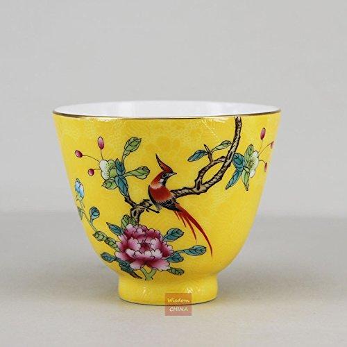 Chinese Jingdezhen Pa Hua Famille-rose Porcelain Tea Cup Bird flower 75cc ()