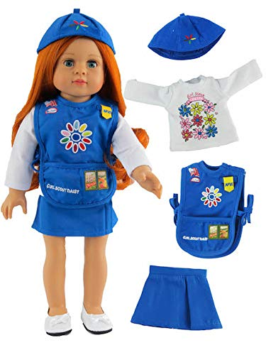 American Fashion World Girl Scout Daisy Outfit Made for 18-inch Dolls fits 18-inch American Dolls and More (Daisy Uniform Girl Scout)