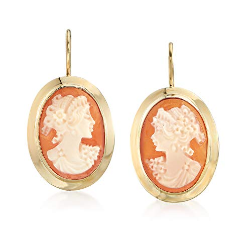 Gold Cameo Earrings - Ross-Simons Italian Oval Shell Cameo Drop Earrings in 14kt Yellow Gold