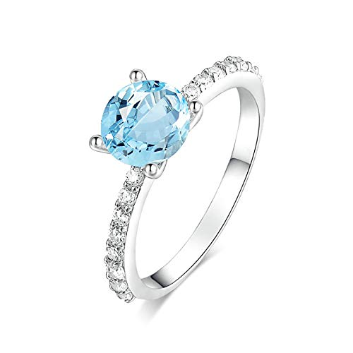 Beydodo 925 Sterling Silver Rings for Women Wedding Bands Size 9 4-Prong Round Cut Blue Topaz Ring