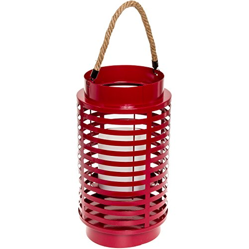 Paradise GL28994RD Metal Led Flameless Candle Lantern (Red)