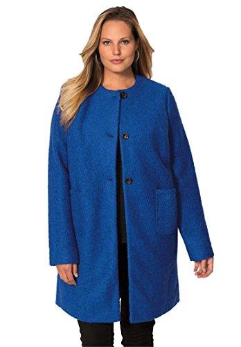 Jessica London Women's Plus Size Collarless Boucle Coat – 12, Dark Sapphire