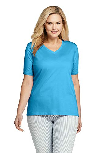 Lands' End Women's Plus Size Relaxed Fit Supima Cotton V-Neck Short Sleeve T-Shirt