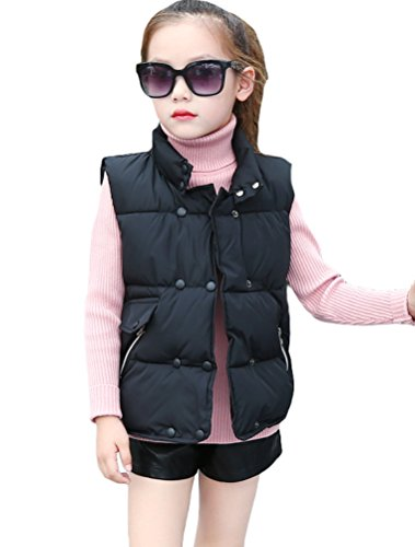 Vest Down Waistcoat (Matchlife Girls Lightweight Down Cotton Vest Jacket Puffer Waistcoat Black 7-8 Years)