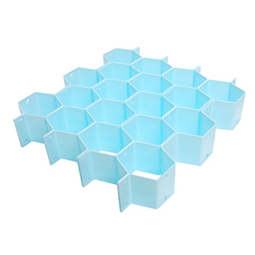 uxcell Plastic Underwear Socks Organizer Honeycomb Cabinet Clapboard Blue