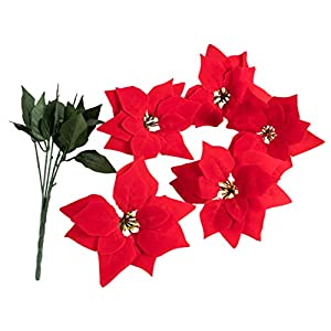 Juvale Red Poinsettia Christmas Decorations - 4-Pack Decorative Flowers with Stem, Artificial Plant and Christmas Tree Ornament for Home Office Decoration 5