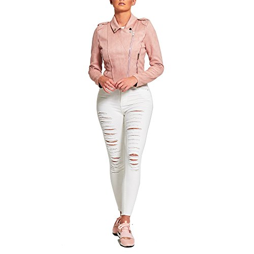 Outlet Womens Ripped Jeans Chic New Stretch Extreme Simply Skinny Denim Cream 5qwnTYt8gq
